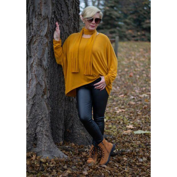 Nina mustár színű laza kötött pulóver sállal