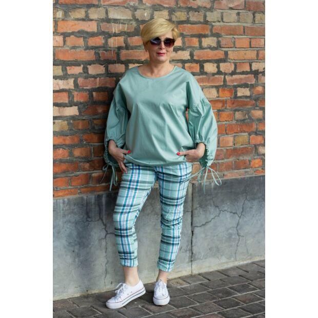 Zöld színű, gumis derekú, rugalmas pamut-vászon nadrág