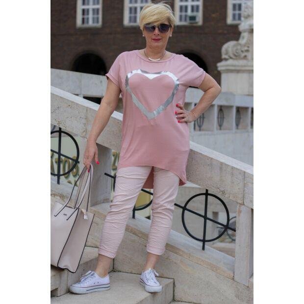 Púder színű, gumírozott derekú rugalmas pamut-vászon nadrág