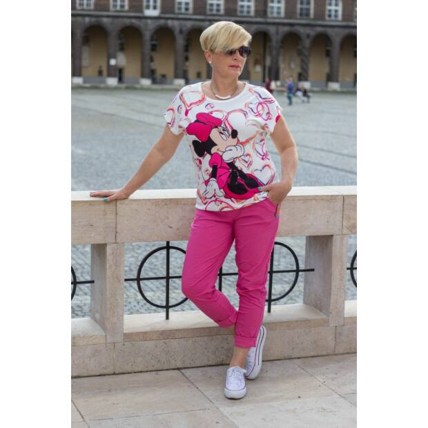 Pink színű, gumírozott derekú rugalmas pamut-vászon nadrág