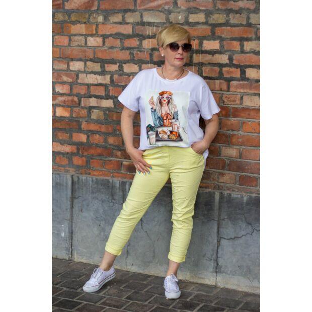 Sárga színű, gumírozott derekú rugalmas pamut-vászon nadrág