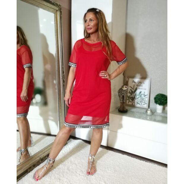 Piros 2-részes pamut trikó ruha+tűl felsőrész