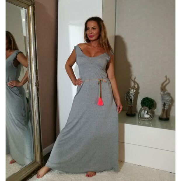 Szürke hosszú pamut ruha színes övvel