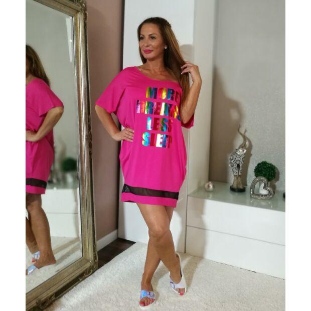 Pink elején feliratos pamut tunika-ruha