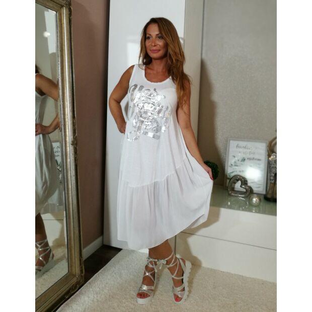 Fehér pamut, elején feliratos laza stílusú ruha