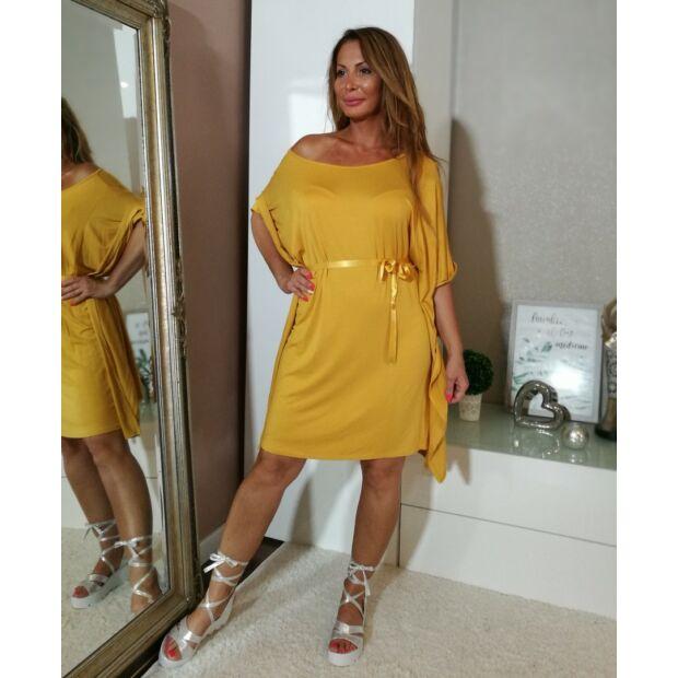 Mustárszínű bő szabású  tunika-ruha.