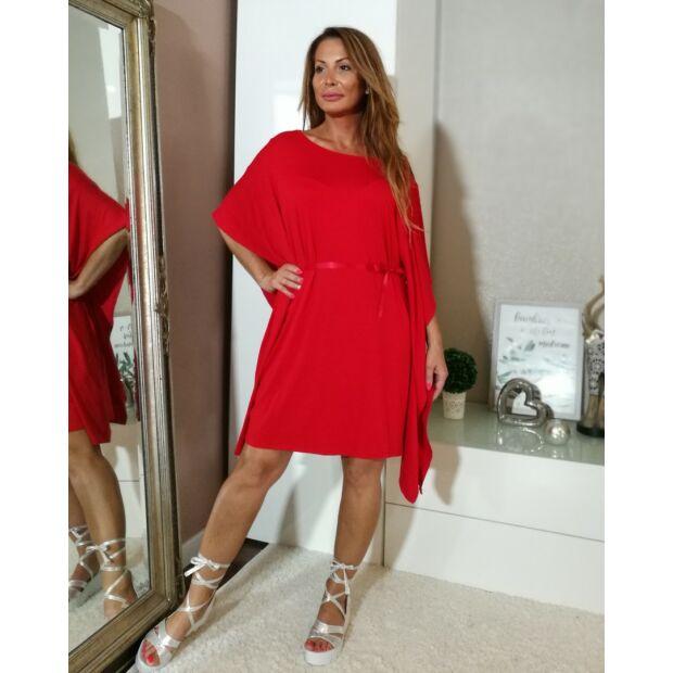 Piros bő szabású pamut ruha.