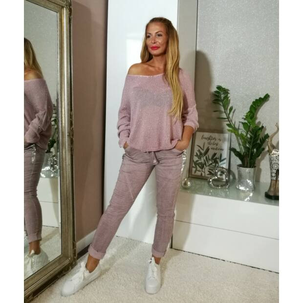 Bonita púderszínű, ezüstös fényű kötött pulcsi