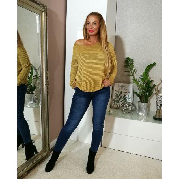 Lisa mustárszínű, laza fazonú kötött pulcsi