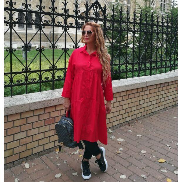 Wanda A vonalú piros színű végig gombos maxi ing