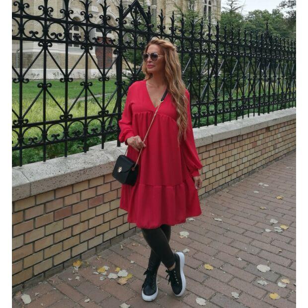 Pamela  A vonalú piros ruha