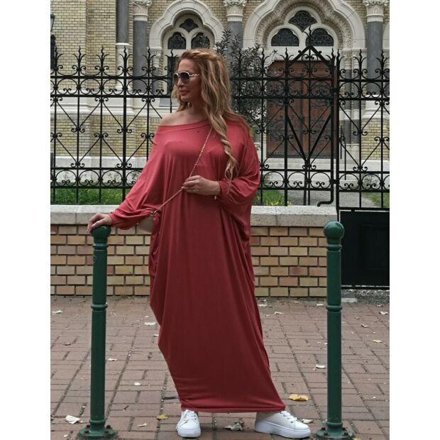 Zoé lazac színű, pamut, laza stílusú maxi ruha