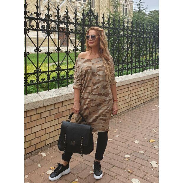 Mustárszínű terepmintás pamut tunika-ruha