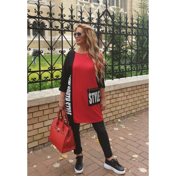 Glória piros-fekete fehér feliratos pamut tunika-ruha