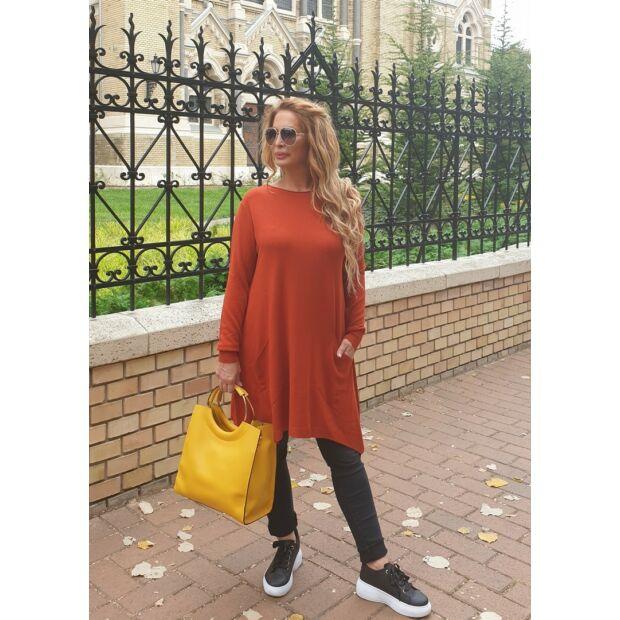 Emily tégla színű színű, puha kötött pulcsi
