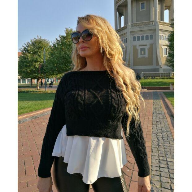 Nikolett fekete kötött pulcsi fehér ing betéttel