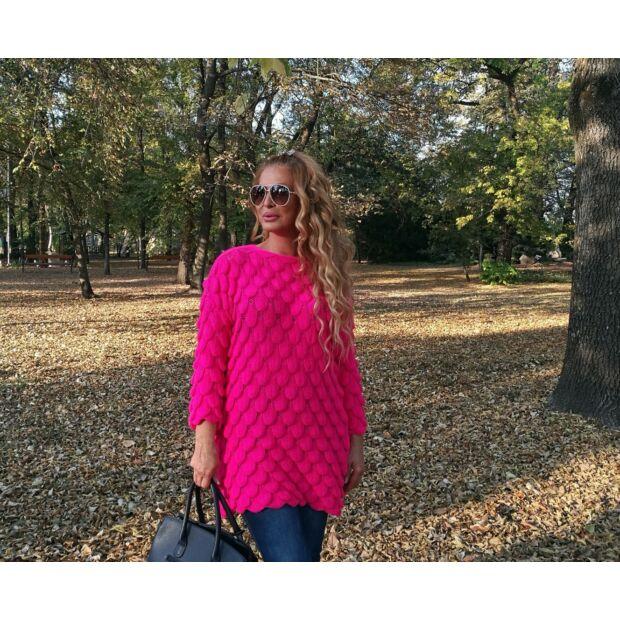 Fióna élénk pink kötött pulcsi