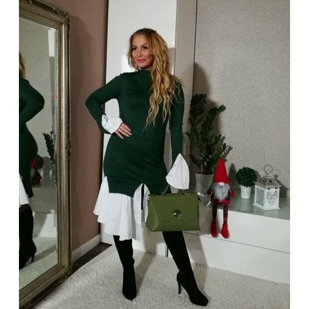 Amy zöld kötött ruha, alján fehér vászon betéttel
