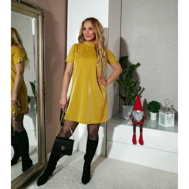 Jessica mustárszínű, A vonalú, magasított nyakú, gyöngyökkel díszített, rövid ujjú ruha