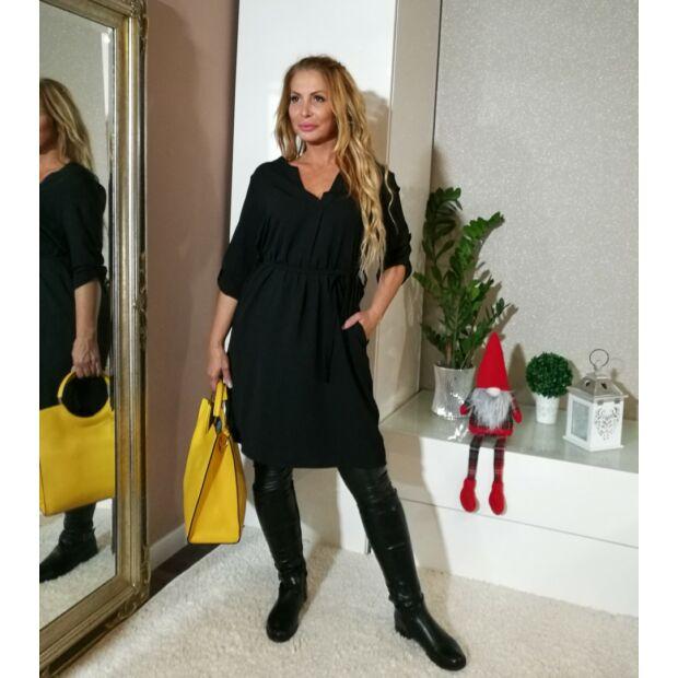 Anetta fekete színű ing tunika- ruha derékrésznél övvel