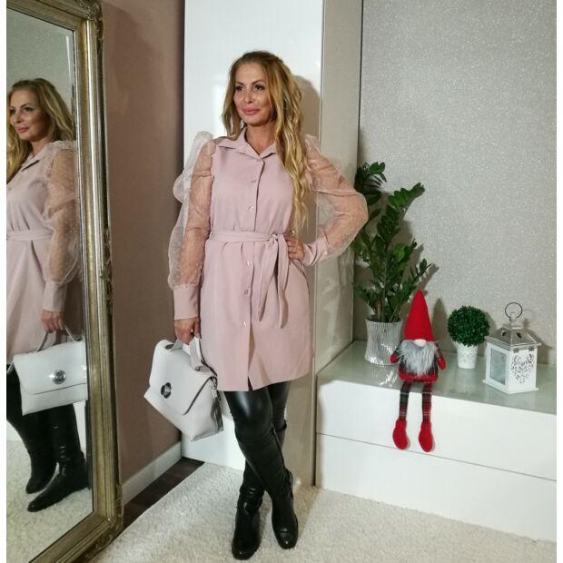 Lorena púderszínű végig gombos ing-tunika, ujja csipke