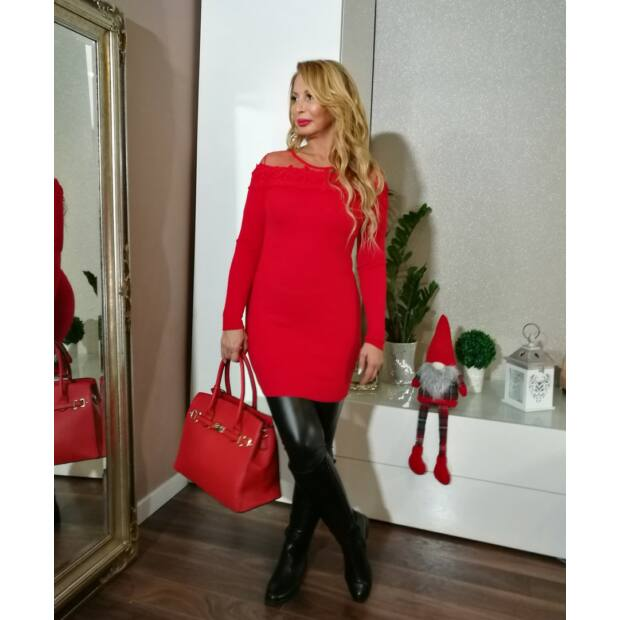 Piros tüll betétes kötött tunika-ruha