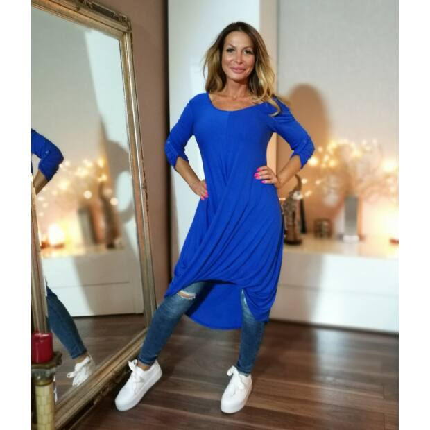 Kék elöl csavart hosszított tunika - Minőségi olasz divatáru - Donna ... 2460c6800a
