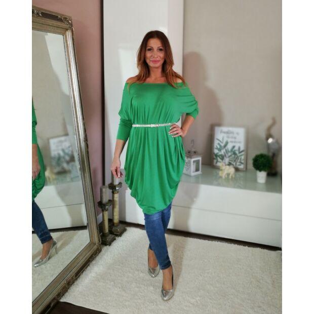 Zöld hosszított bő szabású tunika-ruha.