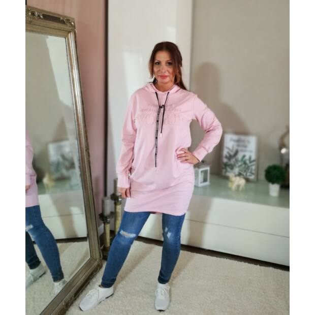 Rózsaszín sportos hosszított, kapucnis pamut tunika.