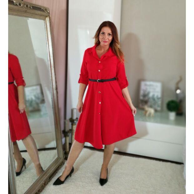 Piros elöl gombos, alsó részén loknis ruha.