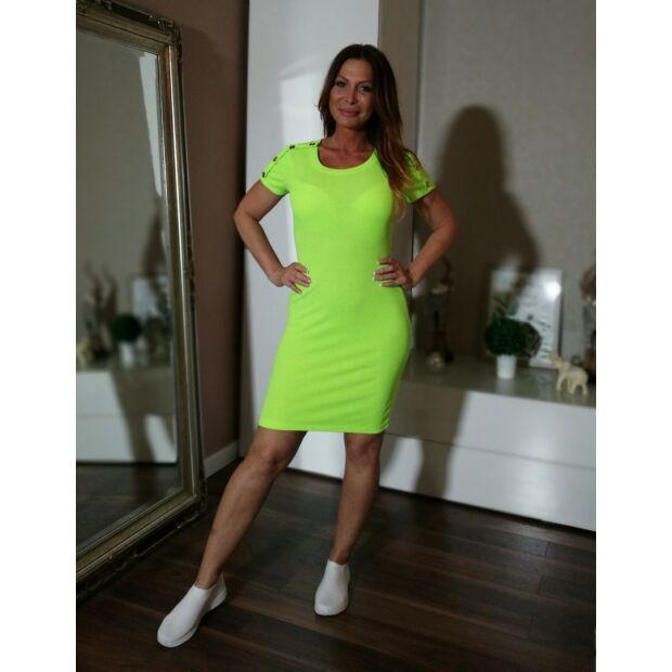 Neon zöld bordás pamut ruha.