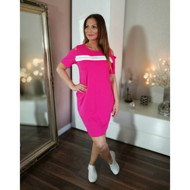 Pink színű elején feliratos pamut tunika-ruha