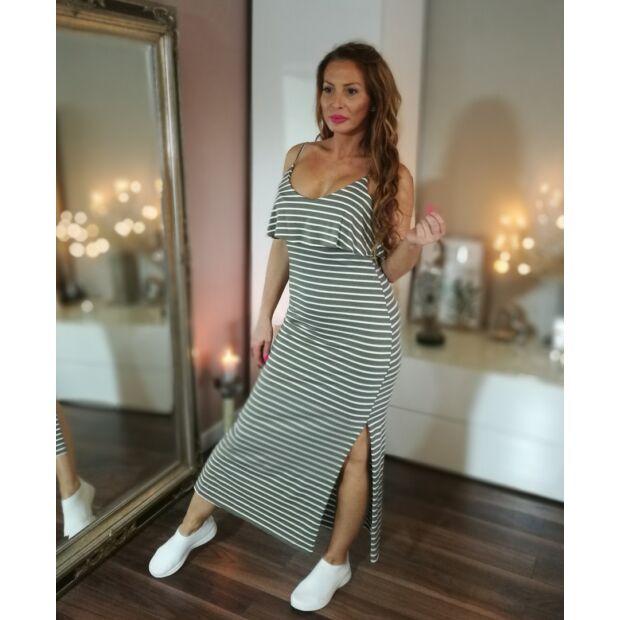 8e1c18d26e Zöld-fehér csíkos hosszú pamut ruha. - Minőségi olasz divatáru ...
