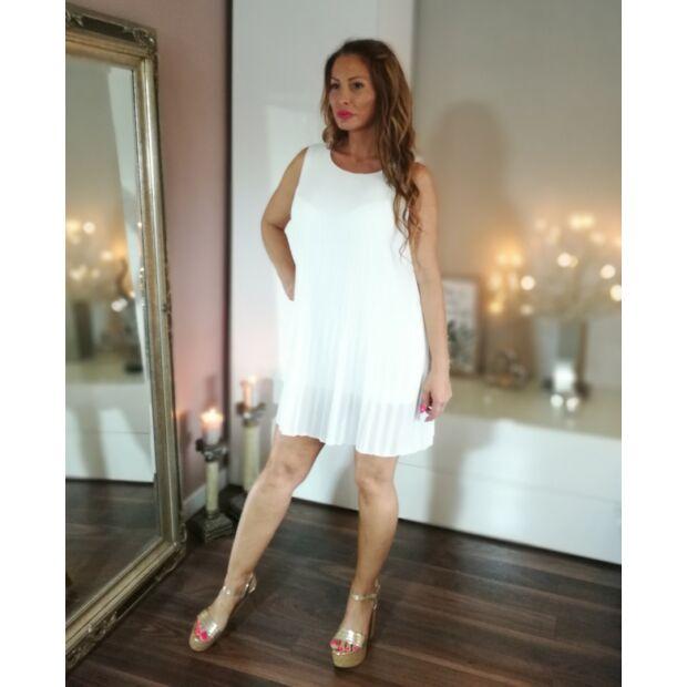 31dae03580 Fehér pliszírozott muszlin ruha - Minőségi olasz divatáru - Donna Moda