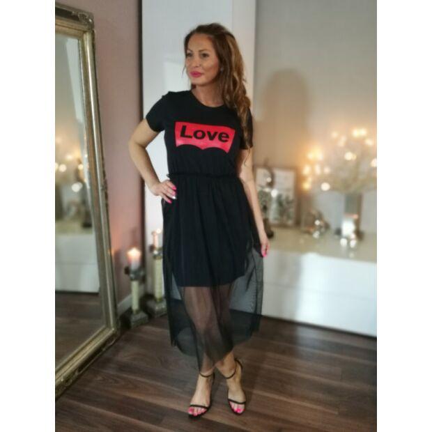 79a83c1577 Fekete pamut ruha elején piros Love felirat, fekete tüll szoknyával ...