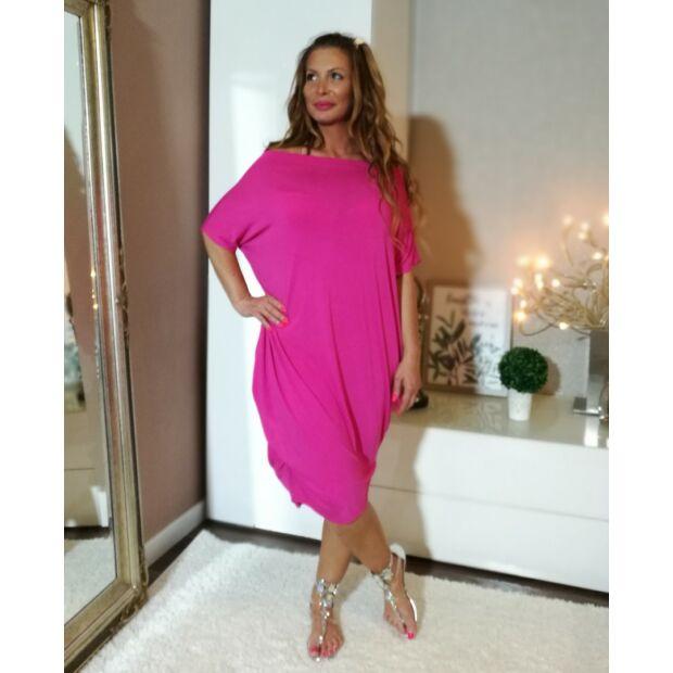 Pink színű  vállról lehúzható  bő szabású pamut tunika.