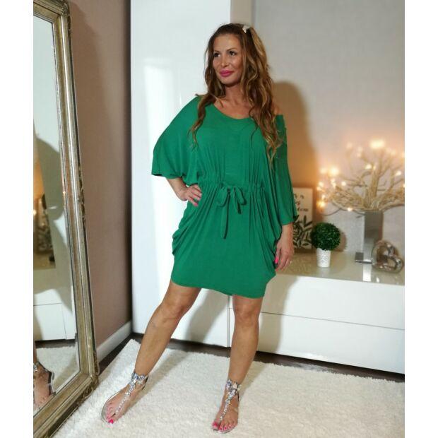Zöld  V  nyakú, derékrésznél  megkötős laza  szabású ruha.