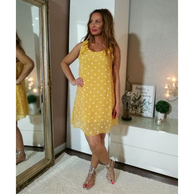 Sárga fehér pettyes, harang szabású muszlin ruha