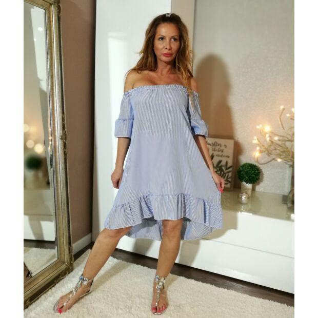 e1207b2320 Kék-fehér alján fodros ruha - Minőségi olasz divatáru - Donna Moda