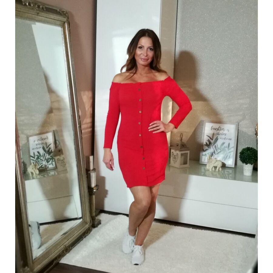6c16bef457 Piros bordás pamut testre simuló ruha. - Minőségi olasz divatáru ...