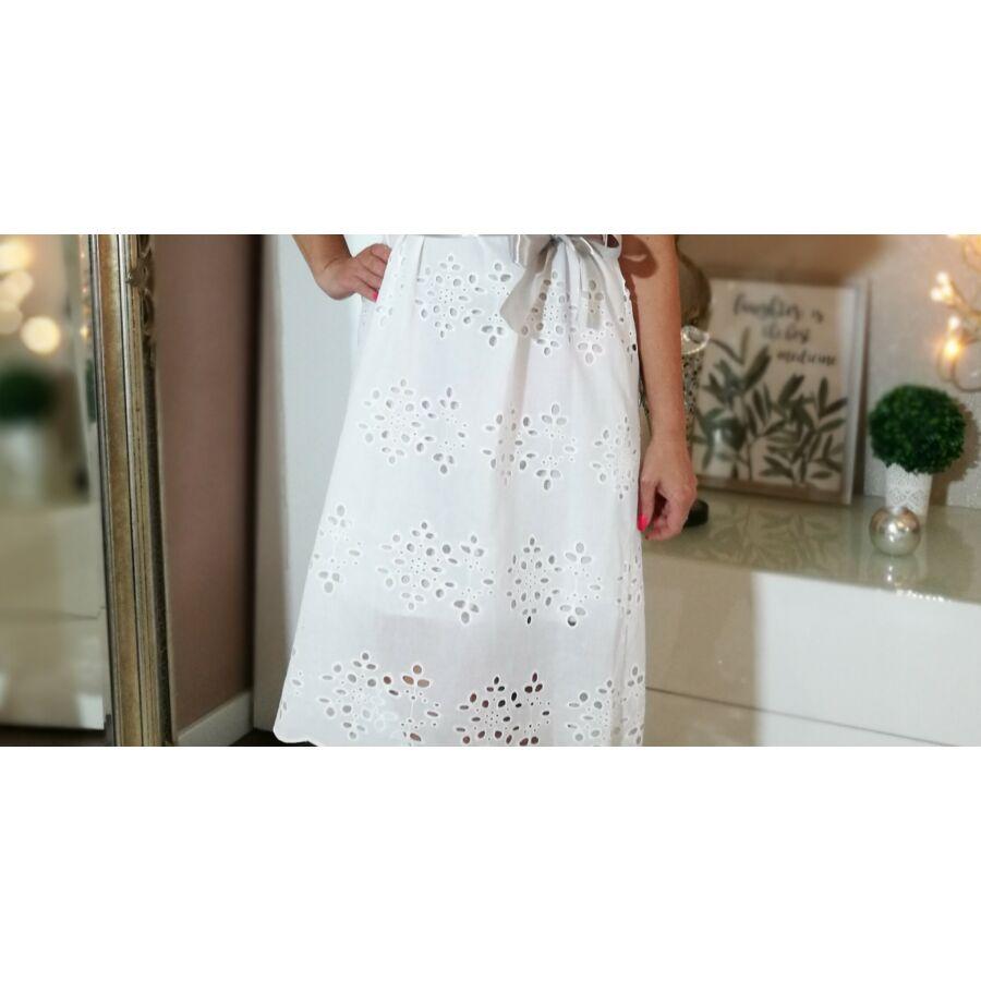 30b5512c3d Hófehér Madiéra csipke, pamut-vászon ruha - Minőségi olasz divatáru ...